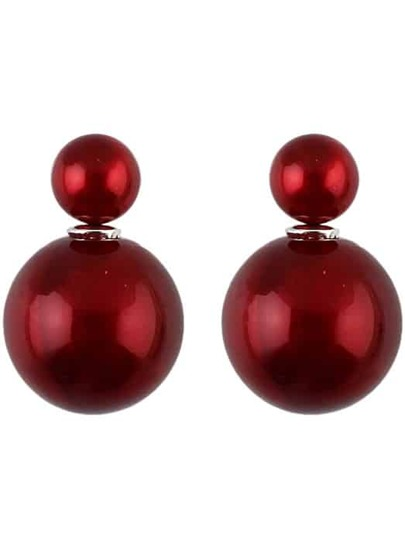 Wine Red Bead Double Stud Earrings