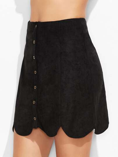 Suede Button Up Scallop Panel Skirt