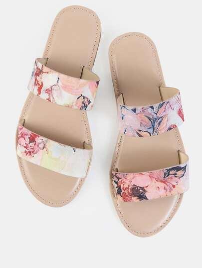 Duo Strap Floral Sandals BLUSH MULTI
