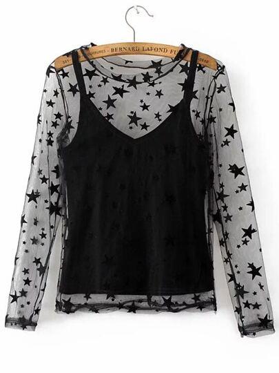 Black Spaghetti Strap Velvet Cami Top With Star Pattern Sheer Top