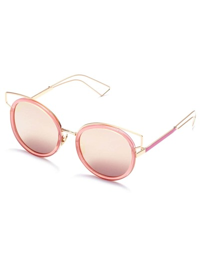 Gafas de sol con marco de metal rosa con abertura