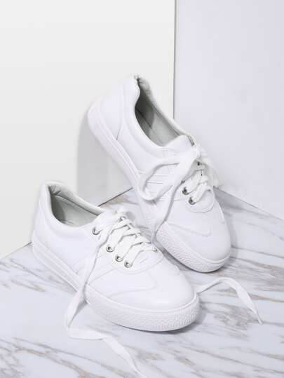 White Lace Up Rubber Sole Low Top PU Sneakers