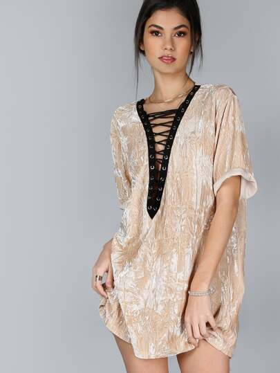 Contrast Lace Up Plunge Neck Crushed Velvet Tee Dress