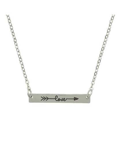 Silver Color Love Letters Metal Pendant Necklaces