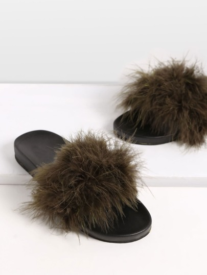 Army Green Peep Toe Feather Soft Sole Slippers
