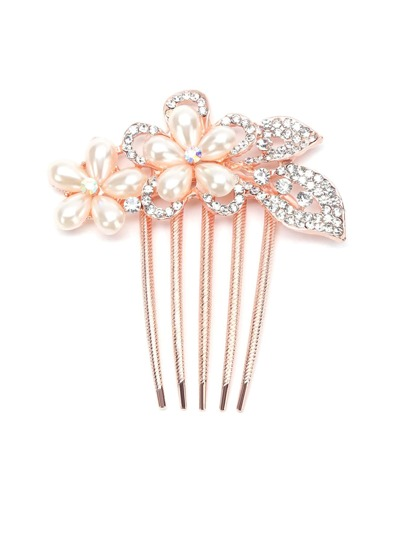 Flower Shaped Rhinestone Hair Comb