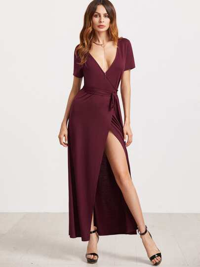 Plunging Surplice Wrap Dress