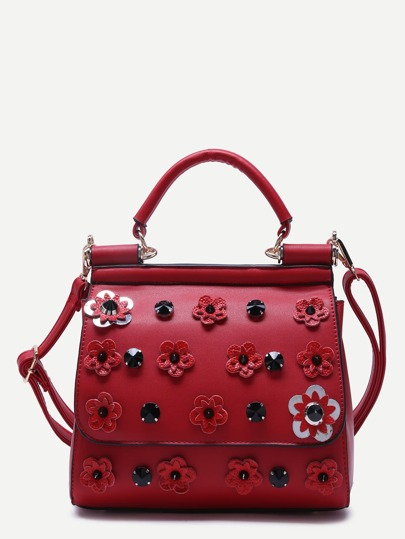 Burgundy Flower And Rhinestone Embellished PU Handbag With Strap