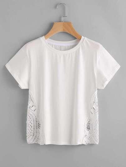 White Crochet Insert Short Sleeve T-shirt