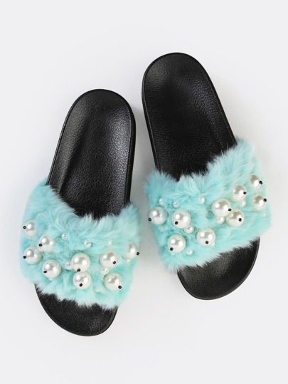 Fluffy Faux Fur Slide Sandals AQUA