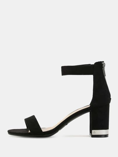 Suede Metallic Chunky Heels BLACK