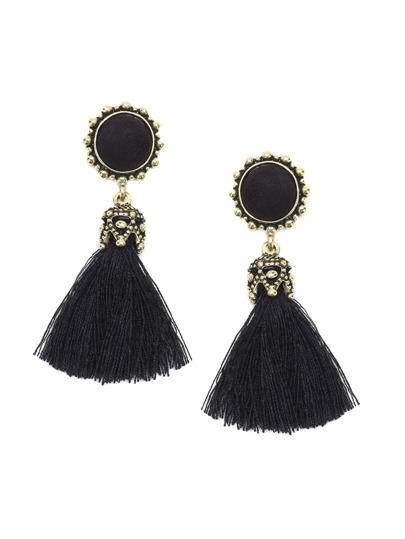 Black Tassel Vintage Drop Earrings