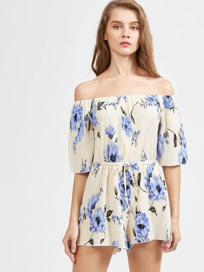 Blue and White Off The Shoulder Floral Jumpsuit