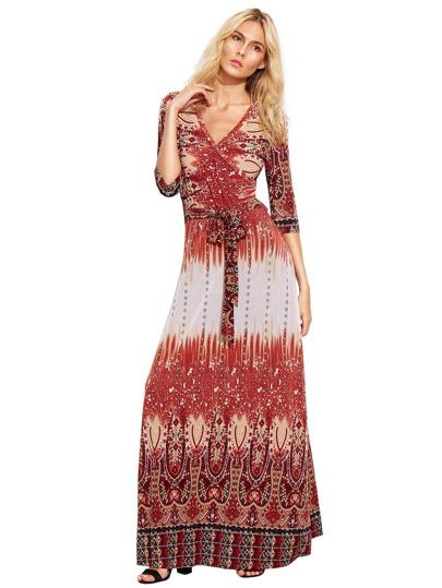 Multicolor Vintage Print Selbstbinden Taille Langes Kleid