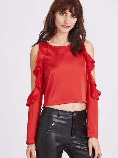 Красный модный топ со сборкой и открытыми плечами