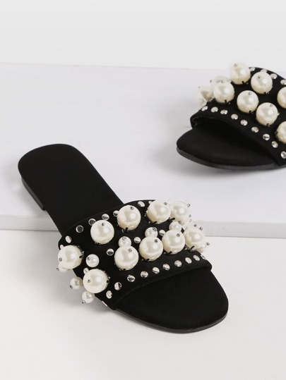 Black Open Toe Faux Pearl Inlay Studded Slippers