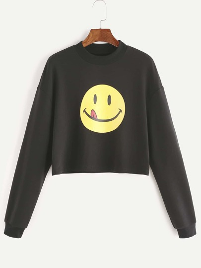 Black Emoji Print Drop Shoulder Sweatshirt
