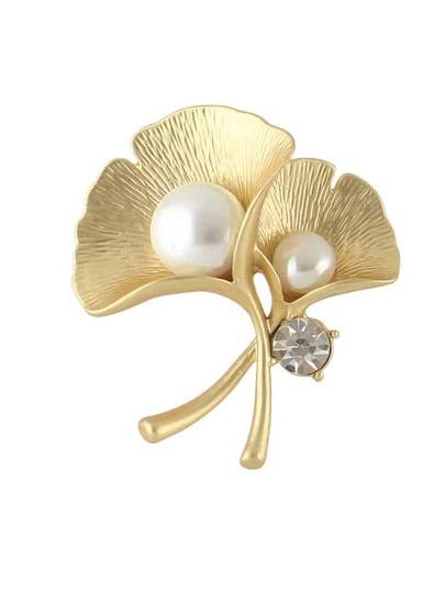 Broches en forma de flor con perla-dorado