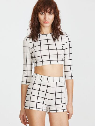 White Grid 3/4 Sleeve Crop T-shirt With Shorts