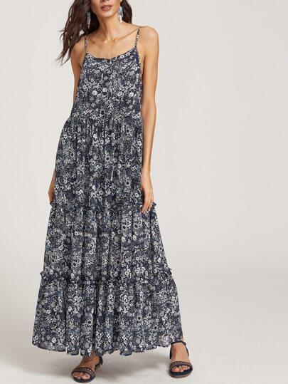 Тёмно-синее модное платье на бретельках с цветочным принтом
