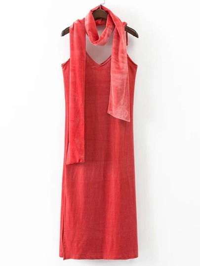 Pink Spaghetti Strap Slit Velvet Dress With Scarf