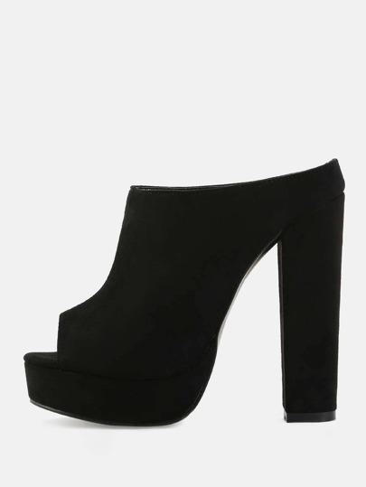 Platform Peep Toe Mules BLACK