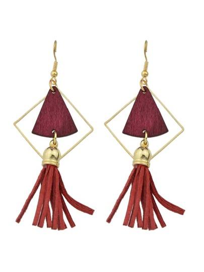 Red Color Geometric Shape Suede Tassel Drop Earrings