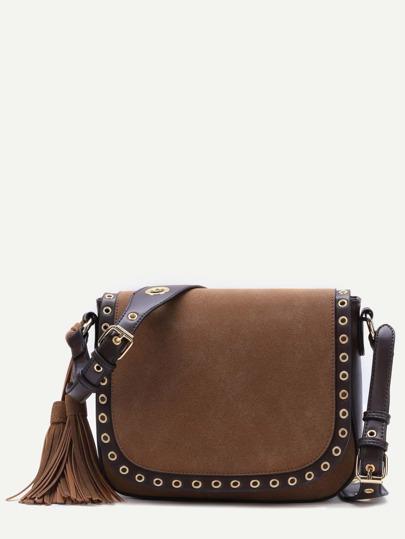 Brown Eyelet Trim Tassel PU Messenger Bag