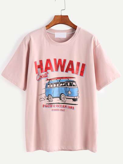 Pink Letter And Cartoon Print T-shirt