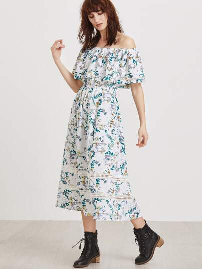 Florals Off The Shoulder Ruffle Dress