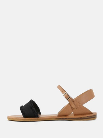 Duo Material Open Toe Sandals BLACK