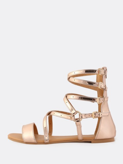 Open Toe Metallic Gladiator Sandals ROSE GOLD