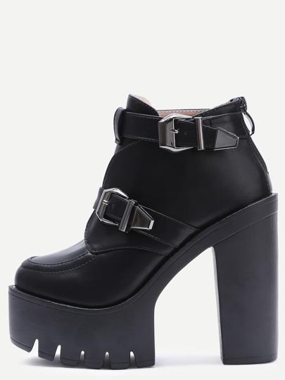 boucle de noir des bottines plate - forme de pu - talons