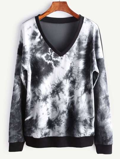 Tie Dye Print Sheer Mesh Back Dropped Shoulders Sweatshirt