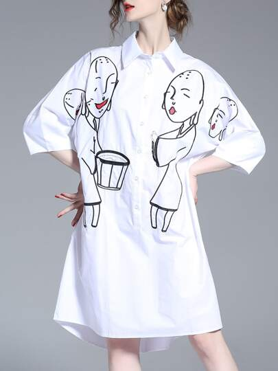 White Lapel Character Embroidered Shirt Dress