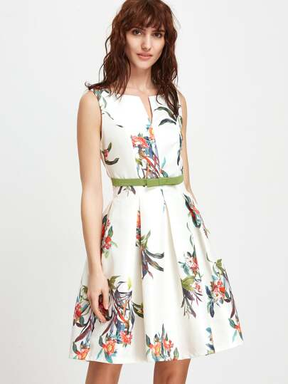 Floral Sleeveless Open Back A Line Dress