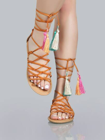 Faux Suede Tassel Sandals CAMEL