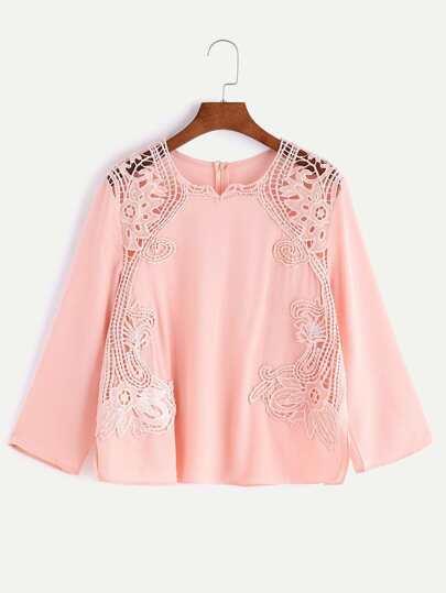 Blusa de croché en contraste espalda con cremallera - rosa