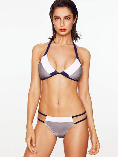 Color Block Cutout Halter Bikini Set