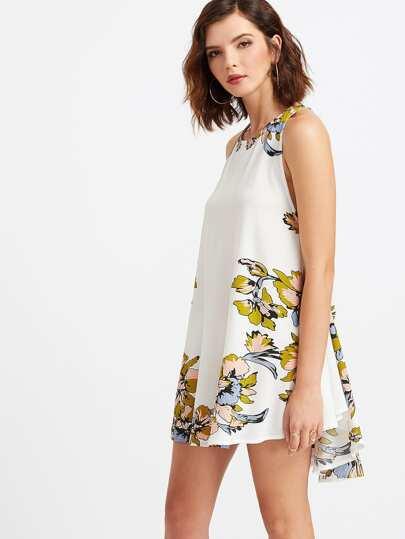 White Floral Print Lace Up Back Dip Hem Dress