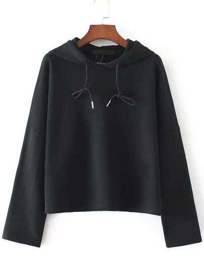 Black Drop Shoulder Seam Drawstring Hooded Sweatshirt
