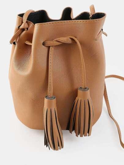 Tassel Tie Mini Bucket Bag CAMEL