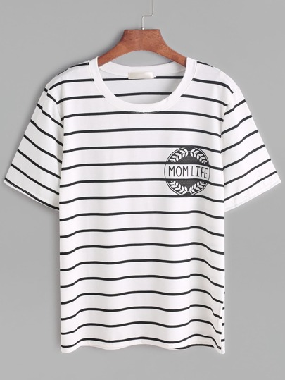 White Letter Print Striped T-shirt