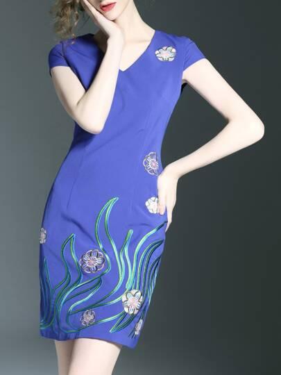 Blue V Neck Cap Sleeve Embroidered Dress