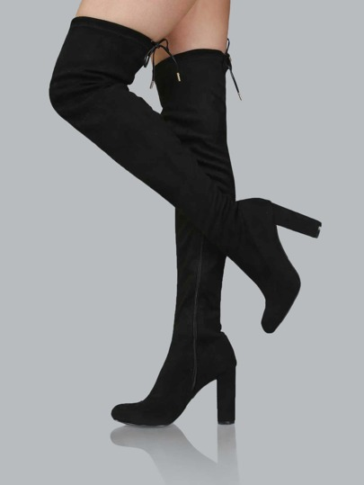 Faux Suede Drawstring Thigh Boots BLACK