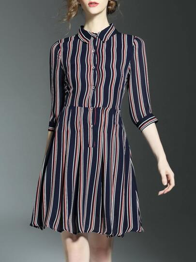 Navy Pink Striped A-Line Dress