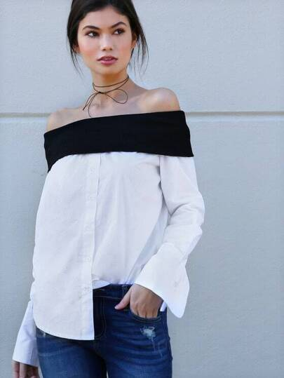 Off The Shoulder Button Up Blouse WHITE BLACK