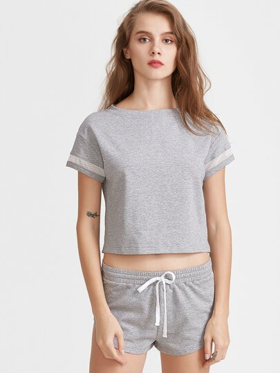 Heather Grey Mesh Insert T-shirt With Drawstring Shorts