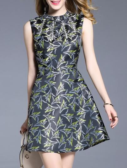 Black Beading Print A-Line Dress