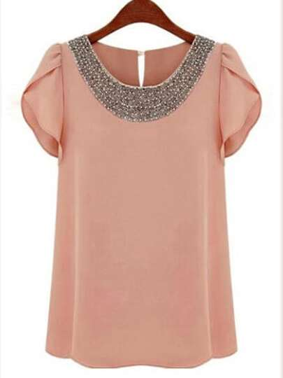 Petal Sleeve Bead Embellished Neck Chiffon Blouse
